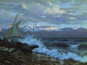 Le Lac Léman en hiver, Eugène Grasset, vers 1905